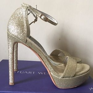 Stuart Weitzman SoHot Nudist Gold Platform Sandals